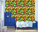 Peel and Stick Wallpaper, Playroom Blocks...
