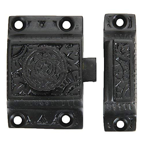 Set of 1 Solid Brass Cabinet Latch, Latch with Flower Knob for Cabinet Closet Kitchen Door, Handmade Oil Rubbed Bronze Finish, Antique Cabinet Latch