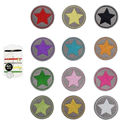 12 Stern Aufbügler Bügelbild klein rund set,aufbügelflicken kinder,aufnäher Kinder Zum Aufbügeln,Applikation Flicken Zum Aufbügeln Patch Sticker Jeans Kleidung Patches,DIY Patches zum Aufbügeln