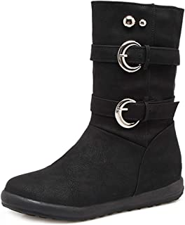 Women's Buckle Strap Mid Calf Flat Low Heel Boots Close Toe Soft Wide Casual Riding Combat Martin Boot