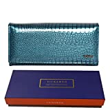 Carteras de Cuero para Mujer Cartera Larga con Cremallera Doble para Mujer Cartera de Embrague Monedero de diseño Monederos de Moda-Blue with Box