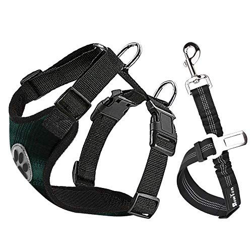 SlowTon Dog Car Harness Plus Connector Strap, Multifunction Adjustable Vest Harness Double Breathable Mesh Fabric with Car Vehicle Safety Seat Belt .(Plaid - Green & Black, Medium)