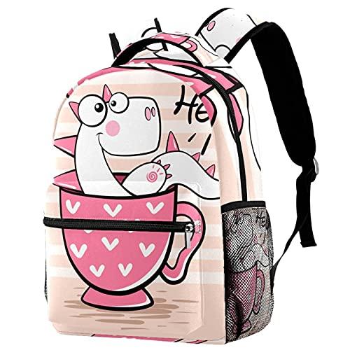 KeepCart Mochila Portátiles Mochila escolar Senderismo Aprender Alta capacidad y al aire libre Dinosa de dibujos animados con taza rosa hola para estudiantes hombres y mujeres