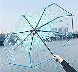 YSJJAXR Paraguas Romántico Transparente Flores claras Burbuja Cúpula Umbrella Medio Automático para Viento Pesada Lluvia Mujer Sun Paraguas (Color : Blue 60cm)