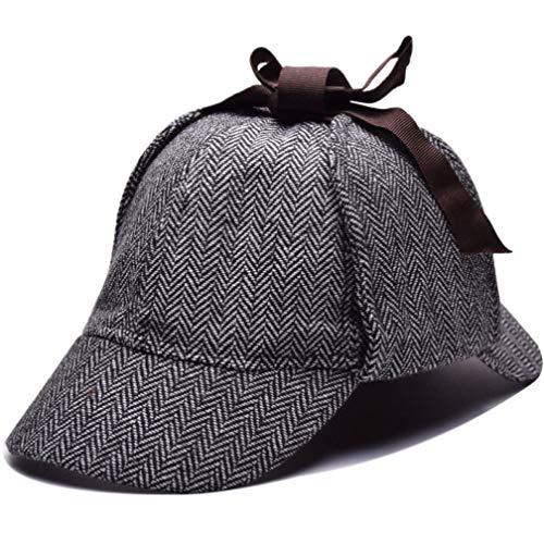AROVON Hüte Cosplay Mütze Detektiv Sherlock Holmes Deerstalker Mütze Grey Cups New Berets Cap Fashional