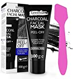 Leerroa ORIGINAL Black Mask 100ml XXL + Maskenpinsel - Schwarze Abziehmaske mit Aktivkohle gegen Mitesser - Für eine porentiefe Reinigung - Für Frauen und Männer