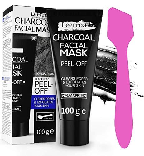 Schwarze Beauty Gesichtsmaske mit Aktivkohle gegen Mitesser und Pickel | 100 ml mit Maskenpinsel | Blackhead Peel-off Maske zum abziehen