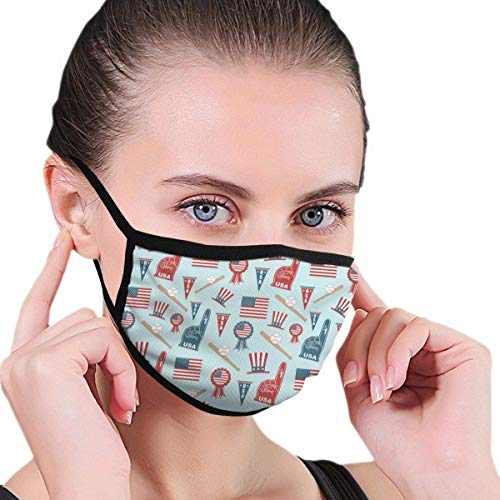 USA Baseball Vector Anti Flu And Saw Dust Masks,Reusable Mask Washeable Comfy Breathable Safety Face Mouth Mask-For Outdoor Half Face Masks