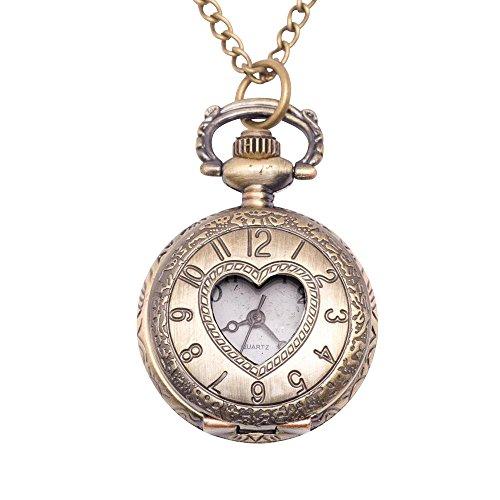 81stgeneration Women's Analogue Quartz Vintage Style Love Heart Pocket Watch Brass Pendant Necklace, 78 cm