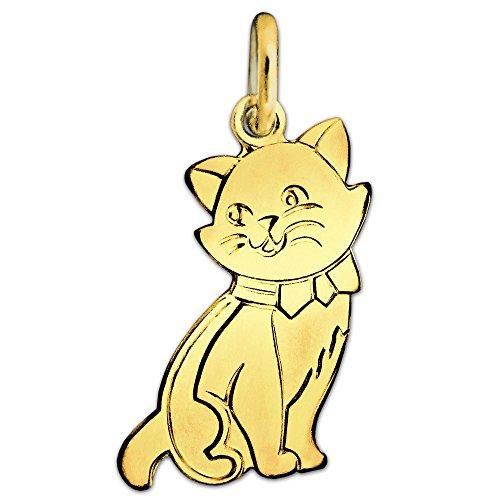 CLEVER SCHMUCK Goldener Damen Anhänger Katze flach 16 x 10 mm matt und glänzend 333 Gold 8 Karat