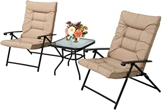3 Piece Outdoor Padded Patio Folding Chair Furniture Set Adjustable with Glass Coffee Table Black Metal Chair