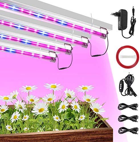 CXhome Led Pflanzenlampe Streifen mit Zeitschaltuhr Pack 4, Pflanzenlicht Led Grow Lampe with Timer 40W mit für Planzen Gewächshaus Hydroponik Gemüse Blume