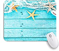 ECOMAOMI 可愛いマウスパッド 素朴な木の板漁網と海の動物の航海 滑り止めゴムバッキングマウスパッドノートブックコンピュータマウスマット