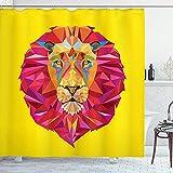 D-M-L Zoo Duschvorhang, Tiere Geometrische Diamond Face Lions Mähne Safari Wildlife Theme Bild, Tuch Badezimmer Set Mit Haken Koralle 122X183CM
