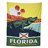 Florida Alligator with State Flag   Wall Hanging Tapestry Decor for Bedroom or Living Room   40x50 inches   Worthwild Tapestries