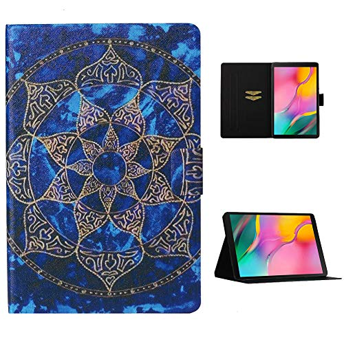 Cestor Flip Tablet Case for Samsung Galaxy Tab A 10.1 SM-T510/T515,Ultra Slim Premium Colorful Print PU Leather [Multi-Angle View] Folio Stand Wallet Cover with Auto Wake/Sleep,Blue Mandala