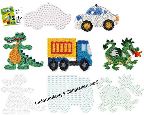 Hama Stiftplatten-Set midi Auto + LKW + Drache + Krokodil + Malheft