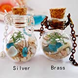 NO BRAND 2 PCS Beach Sand and Sea Glass Shell Necklace, Jewelry Specimen Jewelry, Necklace, Gift for Her
