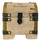Schatztruhe aus Mangoholz mit Wunschgravur personalisiert - nachhaltige Holztruhe, antike/rustikale Optik - Geschenkidee für Männer und Frauen