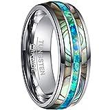 NUNCAD Ring Damen/Herren Silber 8mm Opal + Muschel, Unisex Wolfram Ring Comfort Fit Design für Hochzeit, Alltag und Jahrestag, Größe 72 (32)