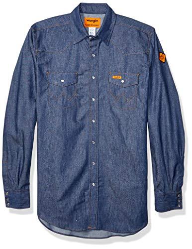Wrangler Men's Big & Tall Flame Resistant Western Two Pocket Snap Shirt, Denim, 4X