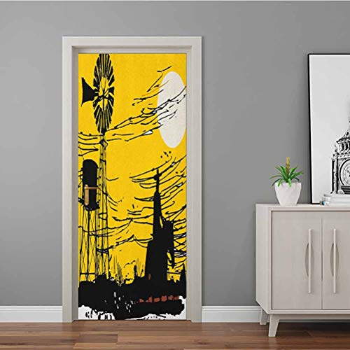 3D Door Stickers Decal Australian Outback Inspired Artwork Cowboy on Horse at Sunset PVC Self-Adhesive Wall Stickers for DIY Home Decor Poster Decoration Earth Yellow Black and White 90x200 CM