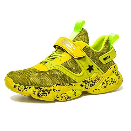 Wishliker Jungen Turnschuhe Leicht Atmungsaktiv Sportschuhe Laufschuhe Low-Top Sneaker,33 EU, Gelb