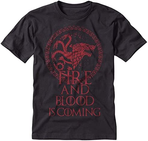 Game of Thrones Stark Targaryen Sigil Fire and Blood is Coming Black T Shirt Large product image