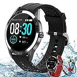 Smartwatch Fitness Watch Uomo Sport Polso da Donna, Telefono Bluetooth, Lettore Musicale, 14 Modalità Sport, Smartwatch Impermeabile IP67 con Cardiofrequenzimetro Android IOS(Nero)