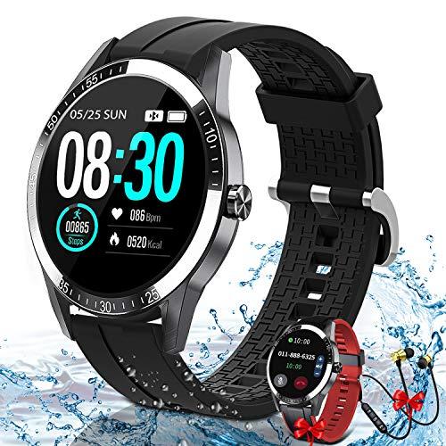 Smartwatch, 1.3 Zoll Touchscreen Fitness Armbanduhr mit Pulsuhr,Unterstützung Bluetooth-Telefon, Musik-Player, Fitness-Tracker IP67 Wasserdicht Sportuhr, Sportuhr für Herren Damen für Android iOS