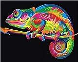 Ojmikmg Pintar por Numeros para Adultos Niños Pintura por Números con Pinceles y Pinturas Decoraciones, DIY Conjunto Completo de Pinturas para el Hogar Colorido camaleón
