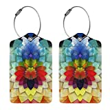 Rainbow Flower Luggage Tags for Travel Women Men Kids,2 Pack Luggage Tag Suitcases Labels PU Leather Baggage Tags with Full Back Privacy Cover Name ID Card Stainless Steel Loop