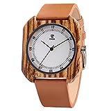 CUCOL メンズ レディース 竹彫り牛革ウォッチ 木製ケース アナログクォーツ腕時計 スタイル4