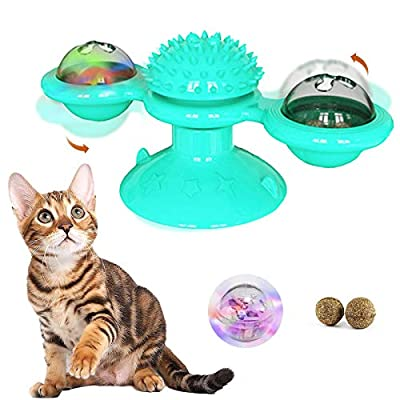 VMOPA Interactive Cat Toys for Indoor Cats, Windmill Spinning Cat Toy Turntable Teasing with Suction Cup,Hair Brush Teeth Cleaning Funny Kitten Massage Toys with Led Ball and Catnip Ball(Blue)