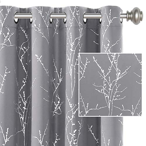 H.VERSAILTEX Blackout Curtains for Bedroom Foil Print Twig Tree Branch Thermal Insulated Grommet Curtain Drapes Light Blocking Thick Soft Window Curtains for Living 52 x 84 Inch Grey 2 Panels