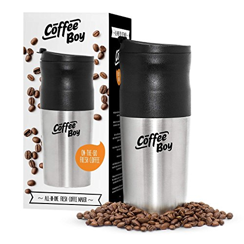 Coffee Boy All-in-One Portable Coffee Maker, with Rechargeable Electric Ceramic Coffee Grinder, 14oz Coffee Travel Mug, and Pour Over Coffee Espresso Dripper - Great for the Office or Camping
