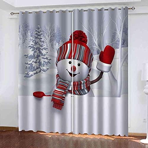GXLOGA Cortinas Opacas Suaves con Ojales Muñeco de nieve de navidad de dibujos animados Térmicas Aislantes Resistente Rayos UV 2 Piezas Proteger Su Privacidad para salón dormitorio y Balcón 300x270 cm
