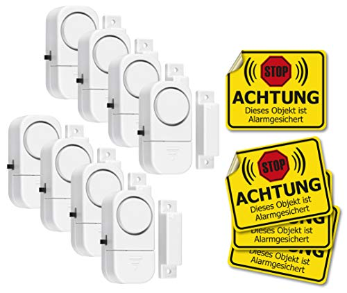 Pentatech 8X SDG Fenster- und Türalarm, kompaktes Gerät inkl. Batterien und 4X Warnaufkleber
