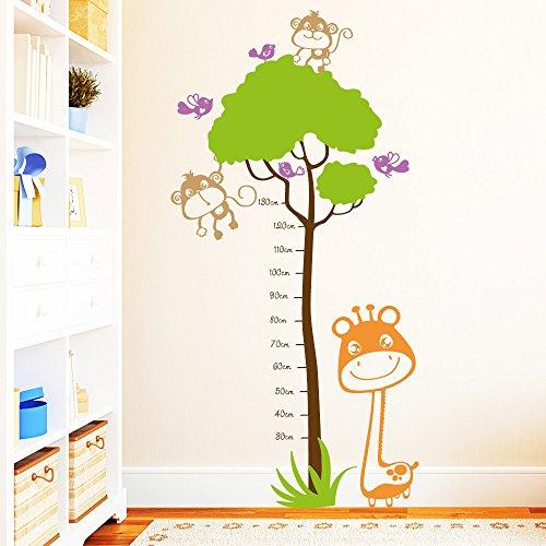 "Wandtattoo Loft ""Maßband Messlatte Giraffe"" mit Äffchen und Vögeln Wandaufkleber / farbig"