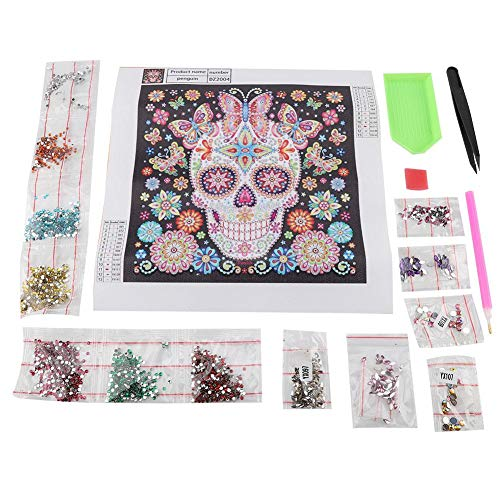 Fdit DIY Special Shape Embroidery Skull Crystal Diamond Painting Kit for Home Decor Crafts(zd004)