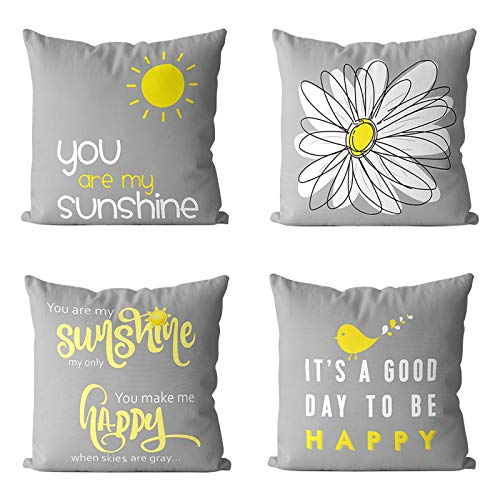 MIULEE Pack of 4 Happy Sunshine Linen Cushion Covers Decorative Square Throw Pillow Case Pillowcases for Couch Living Room Sofa Bed with Invisible Zipper 45cm x 45cm,18x18 Inches Yellow on Grey