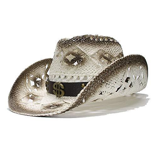 Damen Herren Strohhut Breitrandiger Cowboy Sonnenhut Retro Western Cowboyhut Hollow Dollar Logo Ledergürtel Freizeithut XXY (Farbe : 1, Größe : 56-58CM)