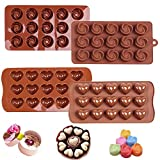 Iindes 2PCS Silicone Chocolate Molds,Flower and Heart Chocolate Mold Cake Decorating Bar Ice Cube Candy Baking Tray Mold Food Grade Non-Stick Moulds (Chocolate)