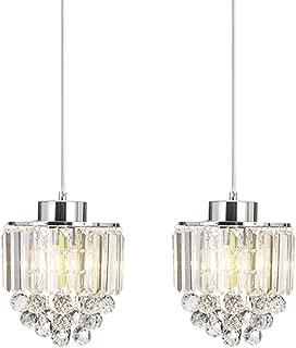 COTULIN Set of 2 Polished Decorative Crystal Chandelier Pendant Light,Pendant Lighting Fixture Cord Adjustable for Living Room Dining Room Bar