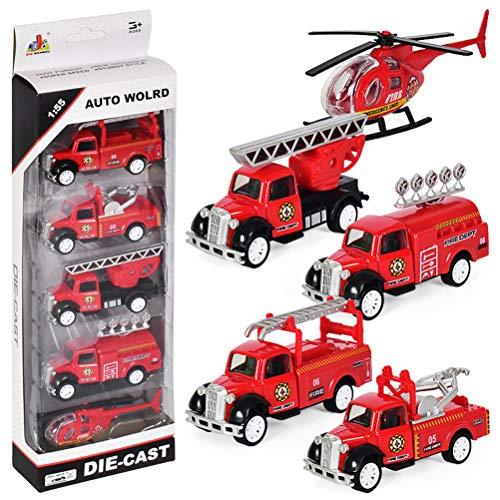Dreamon éhicule de Camion de Pompier Jouet Voiture Miniature Voiture de Friction pour Enfants à partir de 3 4 5 6 Ans, Lot de 5