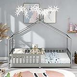 ModernLuxe Lit pour Enfant 90 x 200 cm, lit en Bois pour Enfants, avec Tableau, sommier à Lattes, Anti-Chute, en Bois...