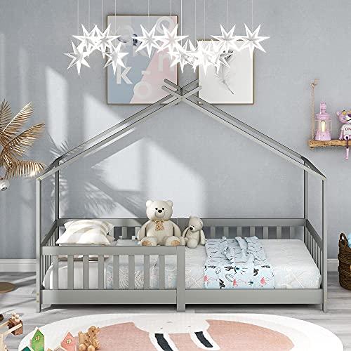 ModernLuxe Lit pour Enfant 90 x 200 cm, lit en Bois pour Enfants, avec Tableau, sommier à Lattes, Anti-Chute, en Bois de pin pour Enfants(sans Matelas) (Gris)