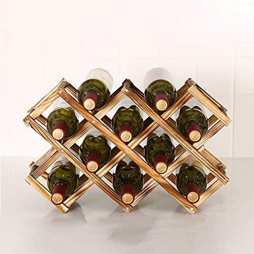 Soporte de almacenamiento de vino plegable para vino creativo de pie rústico de madera para botellas de vino para vinos rojos y blancos 10 botellas