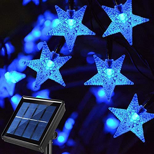 Cadena de luces solares para jardín, 5 m, 20 luces LED para exteriores, funciona con energía solar, impermeable, con 8 modos de cadena de luces de Navidad para patio, césped (azul)