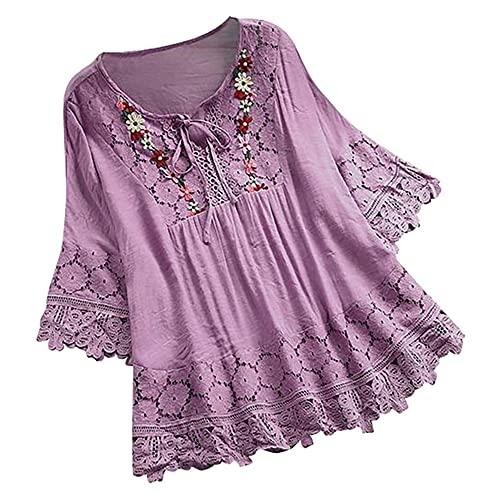 N\\P Damenbluse in Übergröße, kurzärmelig, V-Ausschnitt, Knopfbluse Gr. X-Large, violett